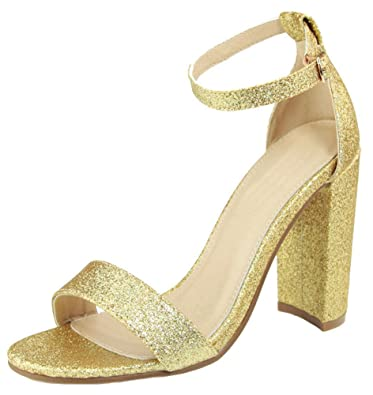 Image result for Guilty Shoes Womens Comfort High Heel Sandal - One Band Open Toe Ankle Strap Sexy Dress Chunky Block Heel