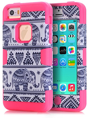 iPhone 5C Case,iPhone 5C Elephant case,TOPSKY(TM) Thailand Elephant Tribe Pattern 3 Layer Heavy Duty High Impact Hybrid Case For iPhone 5C,with Screen Protector and Stylus,(5CKKDX,Hot Pink)