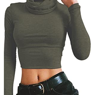 226e171121e2 Freestyle Damen Sommer Oberteile Bluse Sweatshirt Fashion Einfarbig Schlank  Kurz Shirts High Neck Langarmshirts Crop Top
