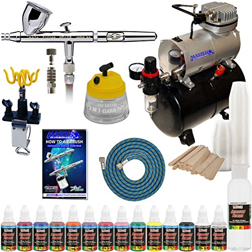 (IWATA HP-CS Eclipse Airbrush Kit With Master Airbrush Tank Compressor and 6 Foot Air Hose Set, Airbrush Paint Set, Airbrush Holder, Cleaning Tank, Mixing Sticks and Cups)