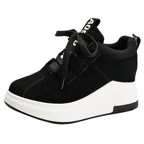 Zapatillas Deportivas de Mujer Zapatos Sneakers Altas de Encaje Casual Running Yoga Calzado Deportivo de Exterior Respirabl Suela Gruesa Atletismo Sports ...
