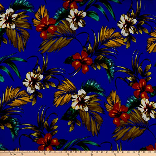 (Fabric Liverpool Double Knit Tropical Floral Fabric, Royal/Ivory, Fabric By The Yard)