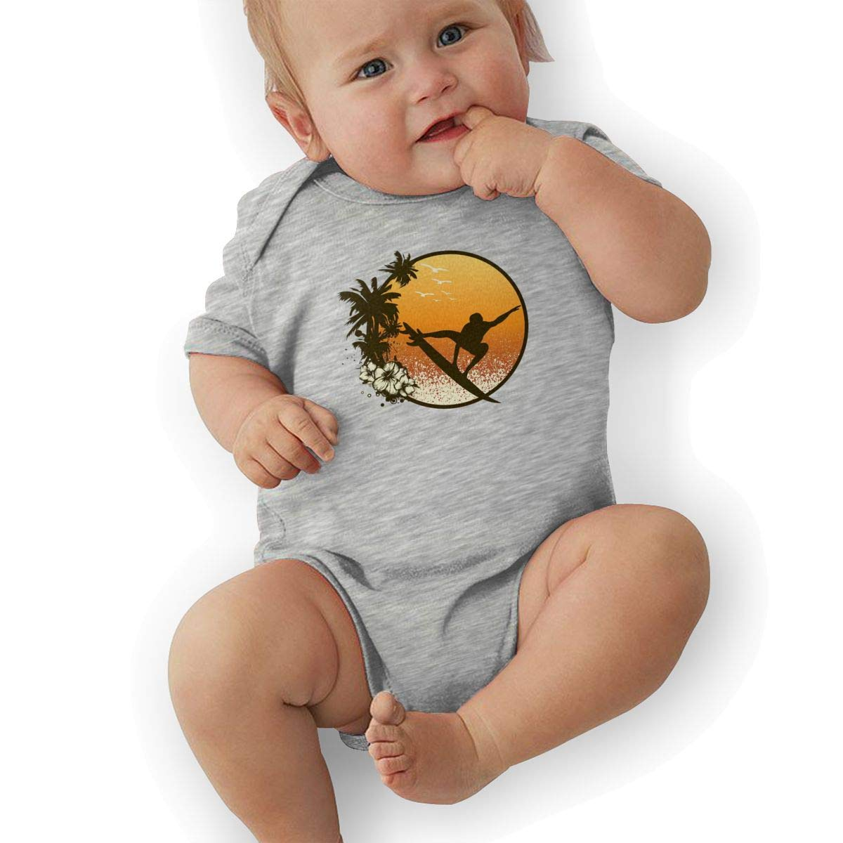 Hawaii Cool Surfer Silhouette Baby Boys Girls Jumpsuits Short Sleeve Romper Bodysuit Bodysuit Jumpsuit Outfits Gray