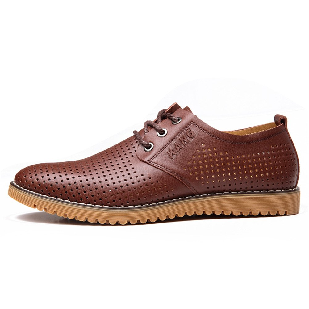ChicWind Men's Breathable Leather Casual Shoes Lace up Oxfords Dress Shoes Brown by ChicWind (Image #2)