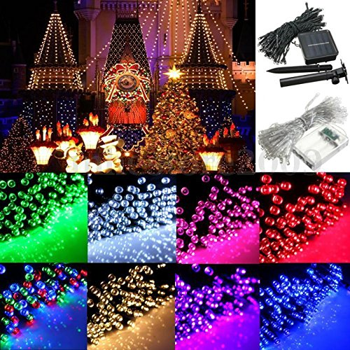 Hongfei Green 300 LEDs Solar LED string lights for night Fairy Party Wedding Atmosphere Lamp in the Holiday Decorations