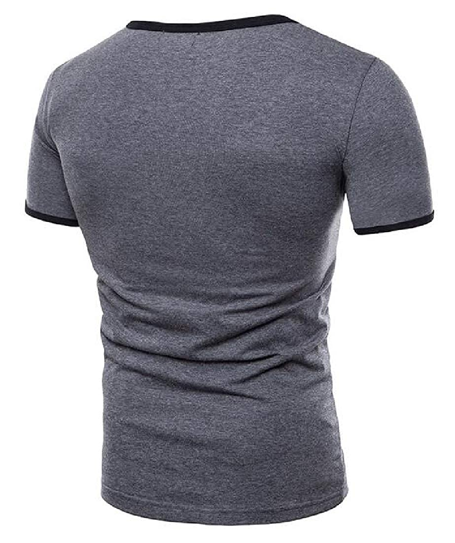 Domple Mens Stitching Hollow Casual Relaxed Fit Short Sleeve T-Shirt Tee Top