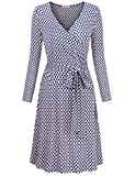 MOOSUNGEEK Women's Vintage V Neck A Line Wrap Dress with Belt