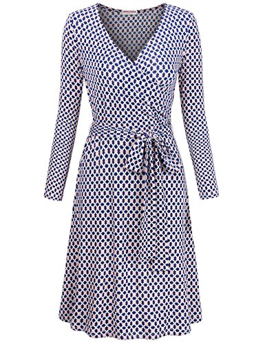 MOOSUNGEEK Fit and Flare Dresses, Ladies High Waist Flower Casual Loose Sexy Night Dress Flowy Dresses Blue Apricot Flower (Plus Size Wrap Dress)