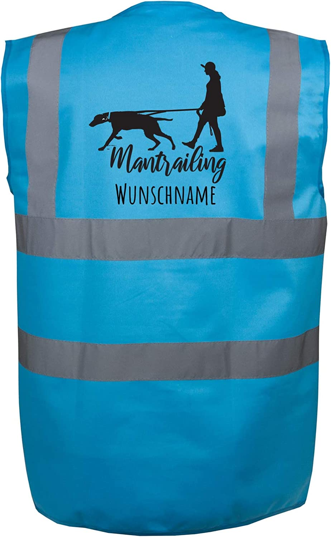 Motiv 7 Mantrailing Hundesport Warnweste Sicherheitsweste mit Namen oder Text personalisiert S, Gr/ün