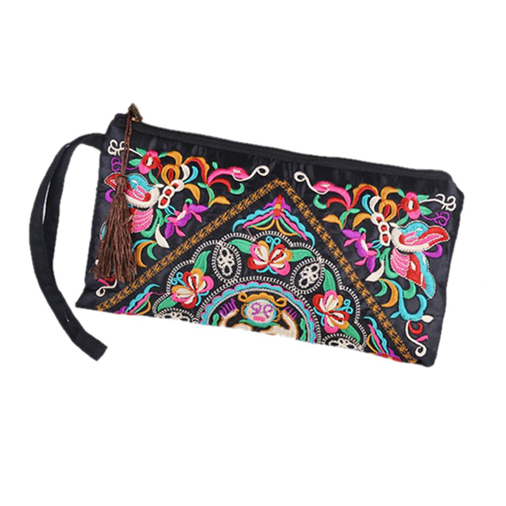 ETOSELL Lady Handbag Purse Handmade Nation Retro Embroidered Bag Wallets Zip Wristlets by Etosell (Image #1)