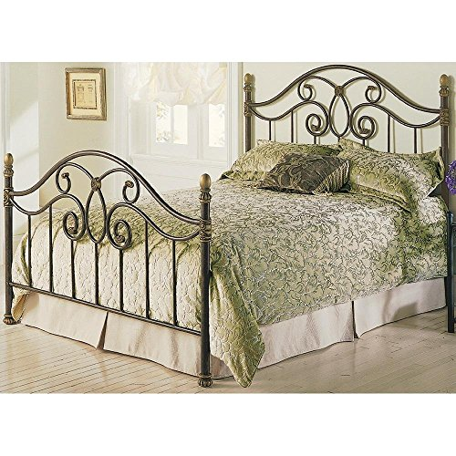 Leggett & Platt Dynasty Complete Metal Bed and Steel Support Frame with Camelback Arches and Soft Gold Highlighted Castings, Autumn Brown Finish, Queen ()