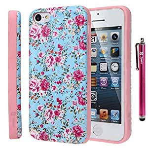 iPhone 5C Case, Style4U iPhone 5C Flower Design Slim Fit Hybrid Armor Case for Apple iPhone 5C with 1 Stylus and 1 HD Clear Screen Protector [ Flower Pink]
