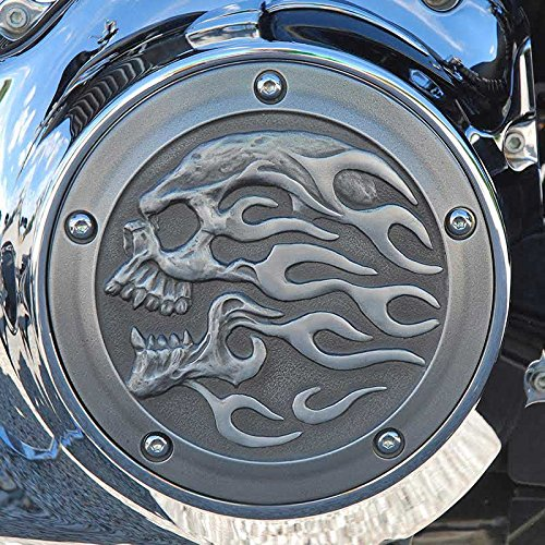 Chrome Dome Aged Flaming Skull Derby Cover -