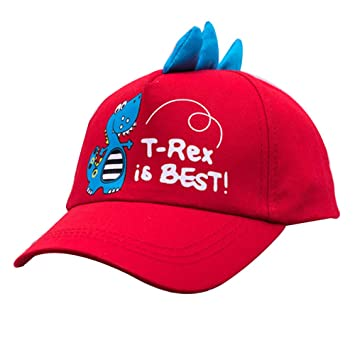 0Miaxudh Gorra de béisbol, Gorra de béisbol de Dinosaurio de Dibujos Animados para niños de Cute Boy, Sombrero de Sol Ajustable de Snapback Red: Amazon.es: ...