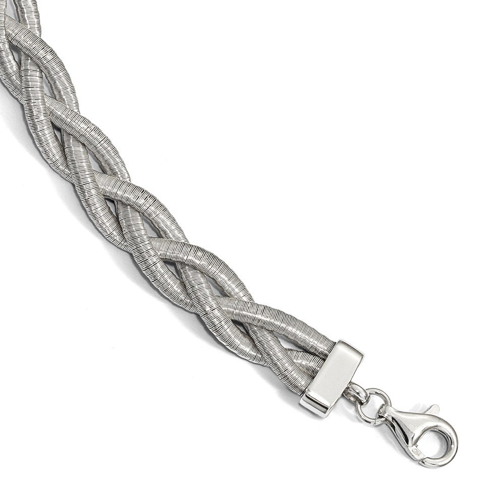 Sterling Silver Braided with 1in ext. Bracelet 7'' - with Secure Lobster Lock Clasp (9mm)