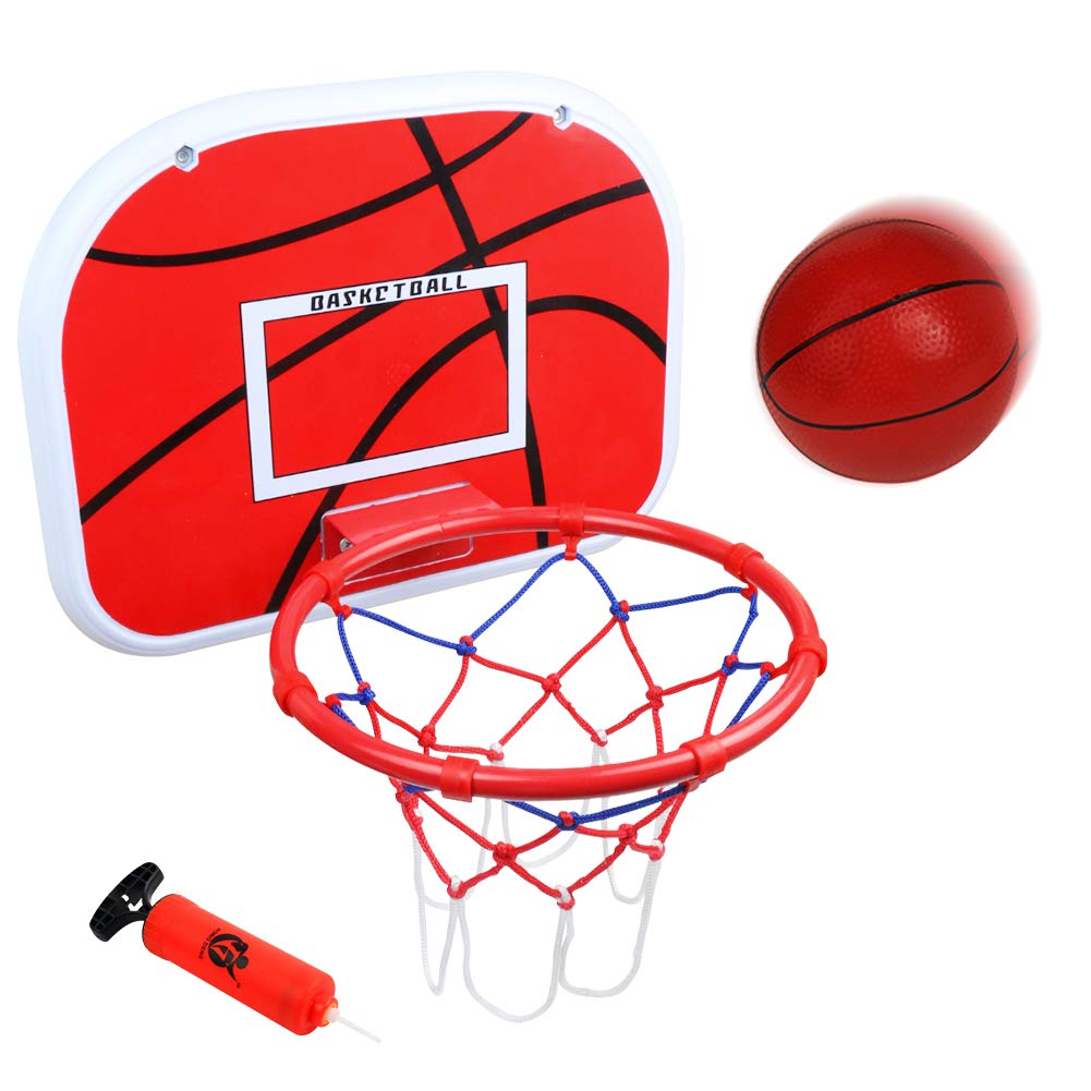 jerryvon Basketball Hoop Over The Door(15''x11.5'') Mini Wall Basketball Hoop Indoor Rim Combo with Ball Pump Set for Toddler Kids Child Youth Boys Girls Adult Party Family Game