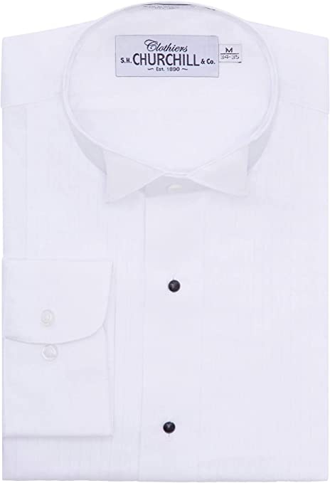 S.H. Churchill & Co. Camisa de Esmoquin Plisada con alas ...
