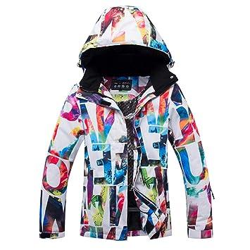 Kbsin212 Chaqueta de Esquí para Mujer con Capucha Invierno Cálido Forrado para el Viento Ropa Engrosada