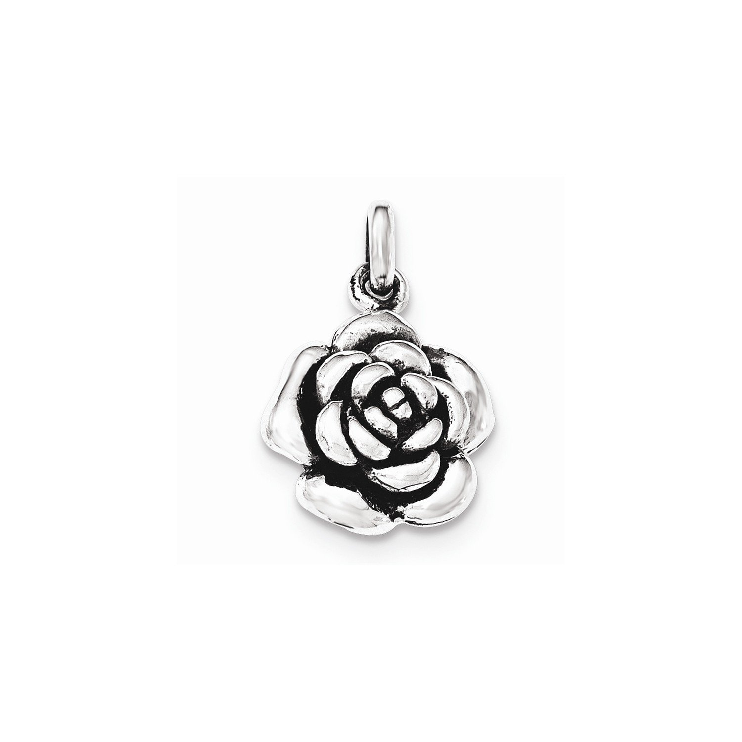 West Coast Jewelry Sterling Silver Polished//Antiqued Rose Pendant