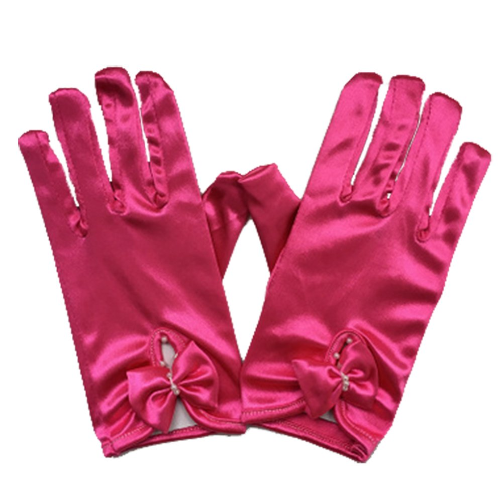 Origine Thing Short Flower Child Size Wrist Length Formal Glove for Wedding Satin Gloves for Girls Princess Gloves (Rose Red)