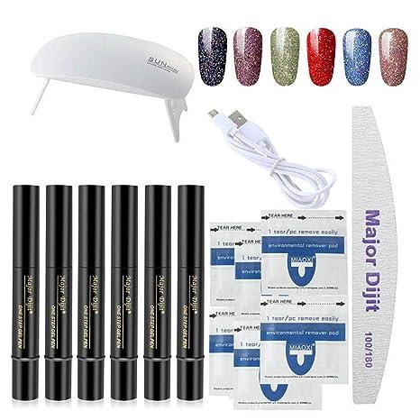 Juego de 6 bolígrafos de gel para uñas 3 en 1, con luz UV LED