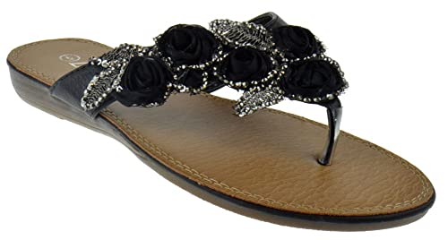 Sunrise 398 Gladiator Floral Rhinestone Thong Flat Sandals Black 6