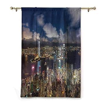 Amazon.com: DONEECKL Fashion Curtain Fabric Night View Hong ...