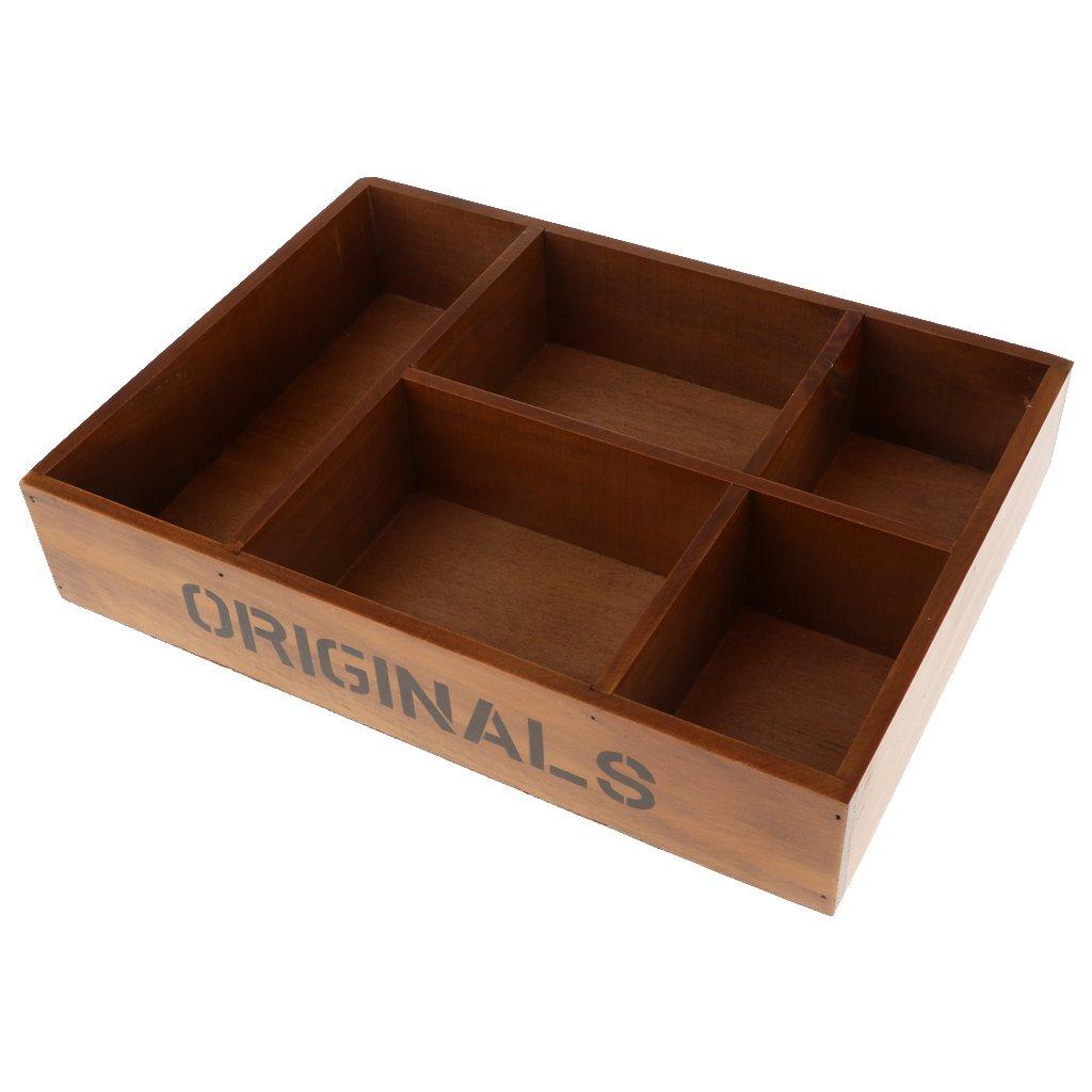 MagiDeal 5-Grid Vintage Wooden Storage Divided Box Drawer Desk Organizer Tray - Brown