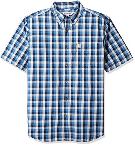 Carhartt Mens Big & Tall Essential Plaid Button Down Collar Ss Shirt