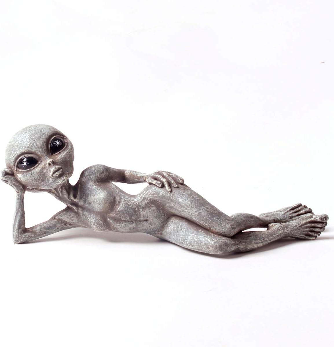 "Sexy Alien Invasion 10"" Laying UFO Extraterrestrial Garden Alien Statue and Figurine ""Sky"" – Alien Gray"