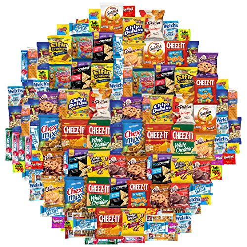 Snack Chest Care Package (120 Count) Variety Snacks Gift Box - College Students, Military, Work or Home - Over 9 Pounds of Chips Cookies & Candy!]()