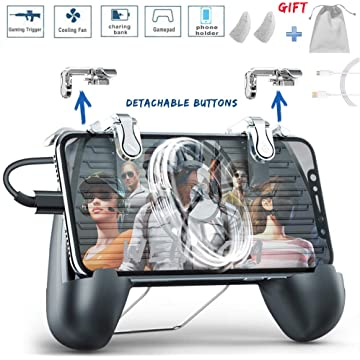 WENDOM Mobile Game Controller with Cooling Fan Portable Charger Detachable Phone Triggers 5 in 1 Gamepad for Android iOS Joystick Compatible with All Games