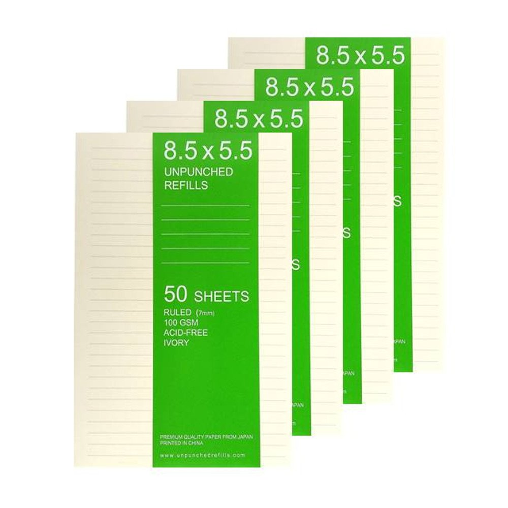 8.5 X 5.5 Ruled Loose Leaf Filler Paper For Ring Binder Discbound Notebook Planner Junior Levenger Circa, TUL, Staples ARC - Unpunched Refills, 50 Sheets x 4 Packs, 200 Sheets, 400 Pages, 100gsm Ivory