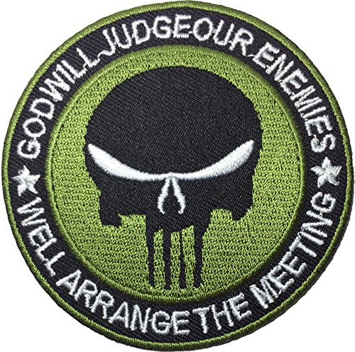 God Will Judge Our Enemies Skull Sewing Iron on Patch - Black and Green by Ranger Return (GOD-JUGDE-BKGN)