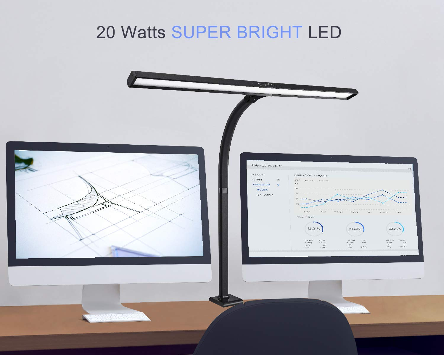 PHIVE LED Desk Lamp, Architect Clamp Task Table Lamp, 20W Super Bright Extra Wide Area Drafting Work Light, 4 Color Modes, 5 Brightness Levels – Great for Workbench, Office, Studio, Reading, Monitor