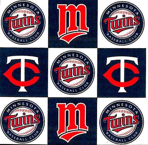 Minnesota Twins Fleece - Fleece Minnesota Twins Square MLB Baseball Sports Team Fleece Fabric Print By the Yard s6571bf