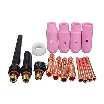 OUNONA Kit de Soldadura TIG Gas Lens para Tig WP-17/18/26 Antorcha 16pcs: Amazon.es: Bricolaje y herramientas