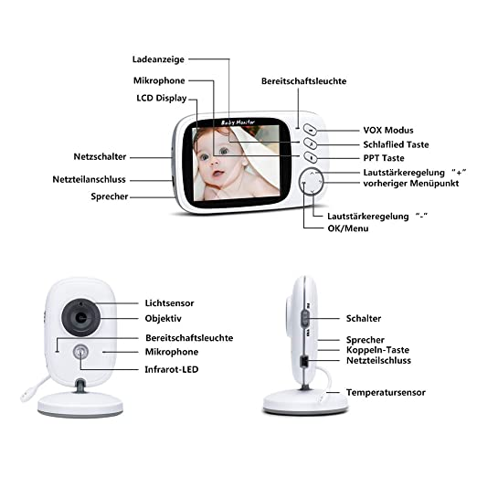 Babyphone mit Kamera ohne Strahlung – Video Baby Monitor mit ...
