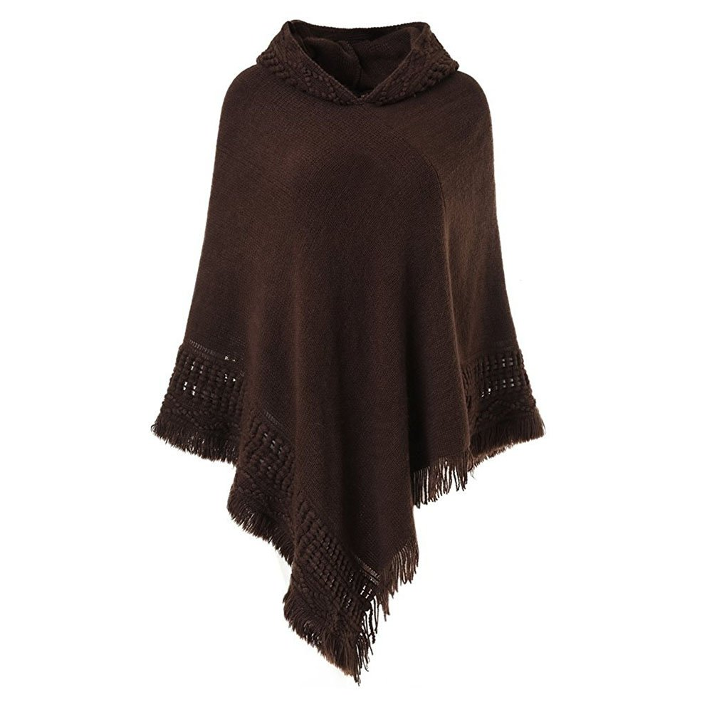 Sefilko Womens Knitted Hooded Poncho Tops Shawl Cape Batwing Blouse With Fringed Sides For Lady (Brown)