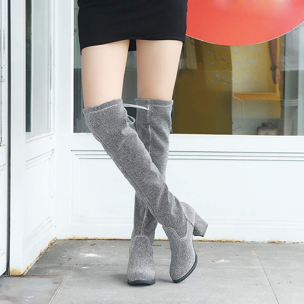 97e002f134 ... Femmes Cuir Botte Caoutchouc Lace-Up Round Toe Bottes Hautes sur Les  Bottes De Genou Talons Hauts Chaussures Martin: Amazon.fr: Chaussures et  Sacs