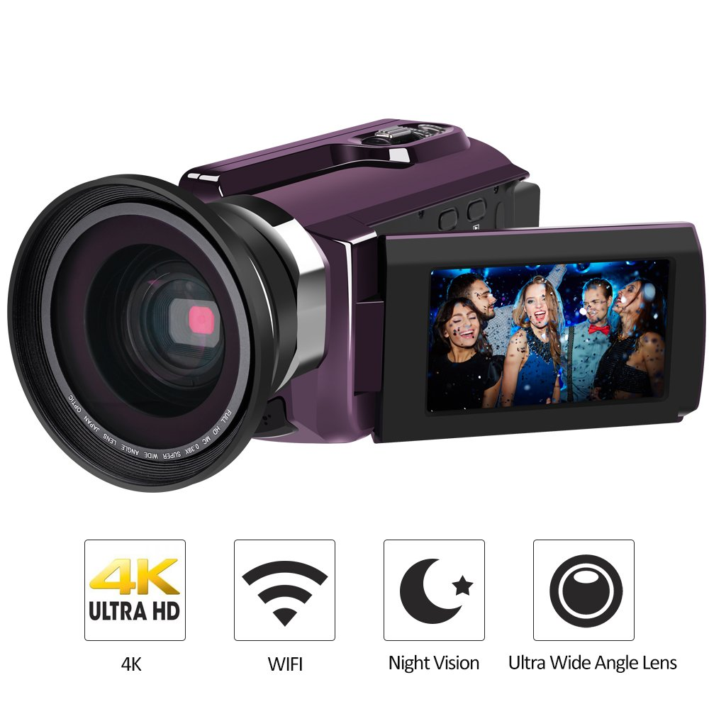4K Camcorder, LAKASARA Video Camera Camcorders 48.0MP 60 FPS Ultra HD Digital Cameras and Video Recorder with Wifi/Infrared Night Vision Features 3'' LCD Touchscreen External Wide Angle Lens by LAKASARA
