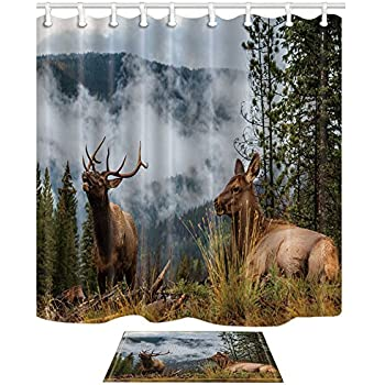 NYMB Safari Animals Bath Curtain Wild Elk In The Rocky Mountains Fog 69X70in Mildew Resistant Polyester Fabric Shower Set With 157x236in