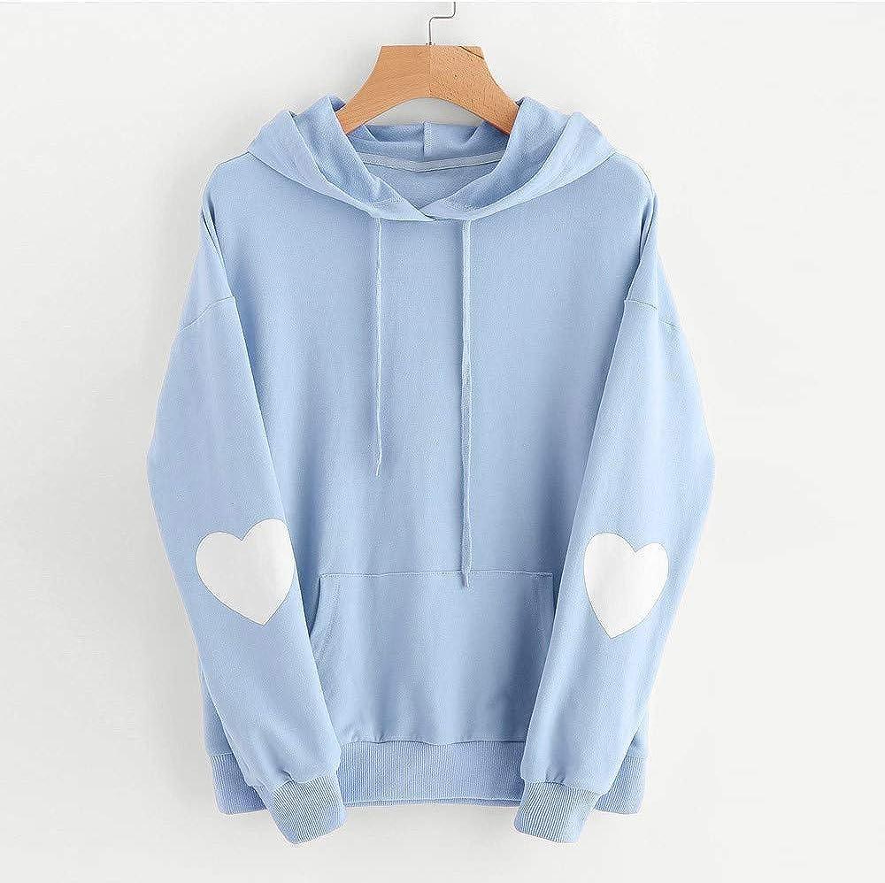 Xinantime Womens Casual Hoodies Long Sleeve Heart Print Hoodie Sweatshirt Jumper Hooded Pullover Tops Blouse 4XL, Pink