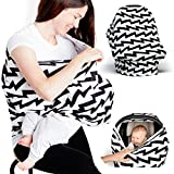 infant car seat carrier cover - Baby Car Seat Cover - Nursing Breastfeeding Scarf - Stroller, Carseat Canopy Cover for Girls and Boys - Infant Car Seat Cover - Baby Carrier Covers Infinity Stretchy Nursing Cover (Electric Stripes)