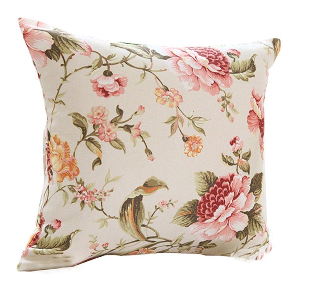 QJS Almohadilla de estilo europeo rosa raya sofá cojines almohadilla de la oficina amortiguadores de coches ( Color : Flores rosadas , Tamaño : 55*55cm )