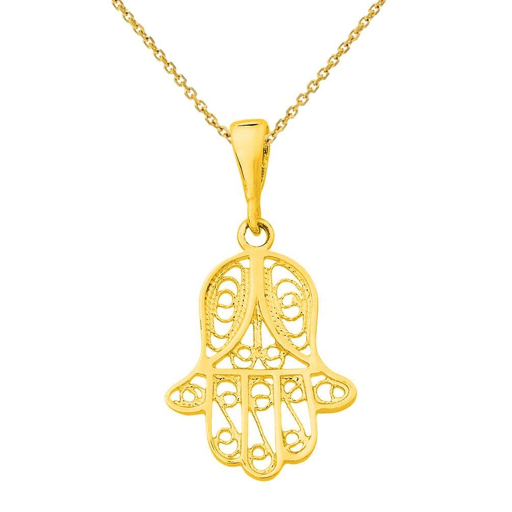 14k Yellow Gold Filigree Hamsa Hand of Fatima Charm Pendant Necklace, 20''