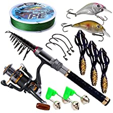 Sougayilang Fishing Rod Reel Combos Pocket Portable Fishing Pole with Left Right Hand Spinning Reel for Outdoor Travel Freshwater Fishing