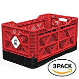BIGANT Heavy Duty Collapsible & Stackable Plastic Milk Crate - IP734235, 23.8 Gallons, Large Size, Red, Set of 3, Absolute Snap Lock Foldable Industrial Storage Bin Container Utility Tote Basket