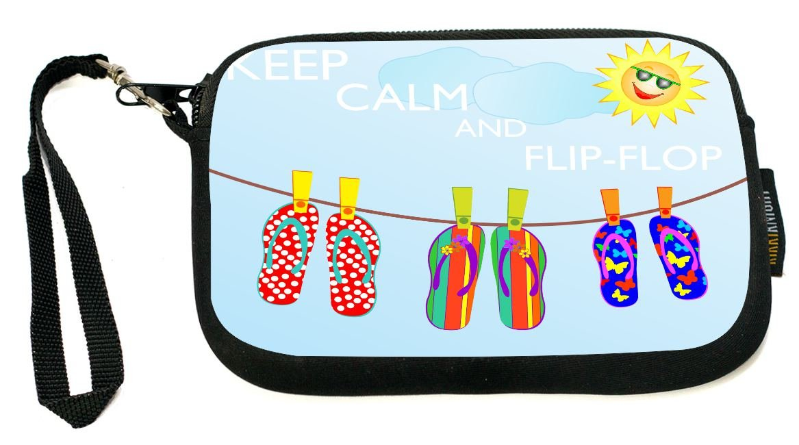 UKBK Keep Calm and Flip-Flop Neoprene Clutch Wristlet with Safety Closure - Ideal case for Camera, Universal Cell Phone Case etc.