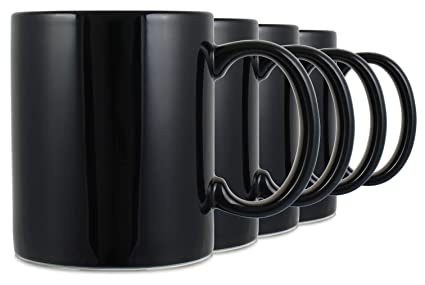d29ae3ca9cd Amazon.com: Serami 11oz Classic Black Coffee Mugs. Large Handle and ...